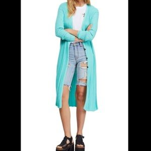 free people Mint Green Long Duster Button Cardigan